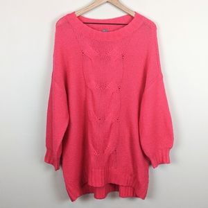 Aerie Pink Oversized Sweater Size Large Chenille